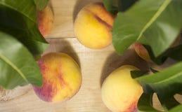 Pfirsiche auf einem braunen Hintergrund Pfirsiche mit grünen Blättern Ansicht von oben Lizenzfreies Stockbild