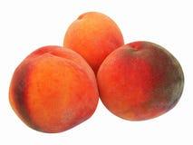 Pfirsiche getrennt auf weißem Hintergrund Reifer Pfirsich drei Stockfoto
