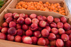 Pfirsiche am Markt eines Landwirts Stockfoto
