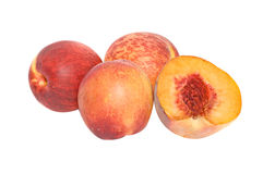 Pfirsiche und Kapitel stockbilder
