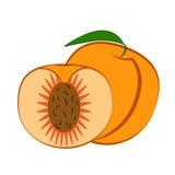 Pfirsichfrucht und -scheibe mit Blatt auf einem weißen Hintergrund Auch im corel abgehobenen Betrag Lizenzfreies Stockbild