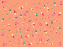 Pfirsichhintergrund mit Eiscreme. Lizenzfreies Stockbild