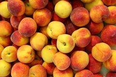 Pfirsichmusterbeschaffenheits-Fruchtmarkthintergrund Stockbilder