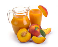 Pfirsichsaft und -frucht Stockbilder