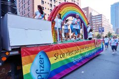 Pfizer pharmaceuticals, maker of Viagra, at the 2015 Fierte Montreal (Gay Pride) parade Royalty Free Stock Images