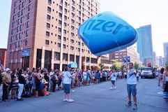 Pfizer pharmaceuticals, maker of Viagra, at the 2015 Fierte Montreal (Gay Pride) parade Stock Photography