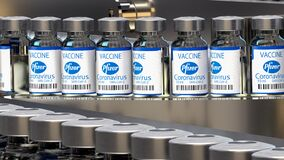 Pfizer vaccine against Coronavirus COVID-19 infections on the production line