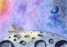 Pflänzchen gewachsen auf der Oberfläche des Mondes im Weltraum, Aquarell, Hand gezeichnet lizenzfreie abbildung