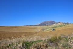 Pflügen des Bodens auf den Gebieten von Andalusien Stockfotos