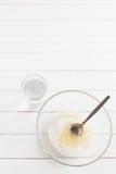 Pflanzenöl der Zuckerglasschüsselschale Stockfoto