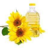 Pflanzenöl von der Sonnenblume Stockfotos