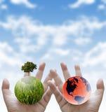 Pflanzen Sie den Baum für Enddas globale Waming, stützbar stockfotografie