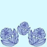 Pflanzen Sie eine Grenze von Hand gezeichneten Blumen Lizenzfreie Stockfotos