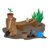 Pflanzen Sie einen Baum und landschaftlich gestalten Stockfoto