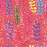 Pflanzen Sie große kleine Aquarellkaninchenlinie nahtloses Muster lizenzfreie abbildung