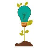 pflanzen Sie Stamm mit Blättern und Glühbirne mit hellem Türkis lizenzfreie abbildung