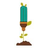 pflanzen Sie Stamm mit Blättern und Leuchtstoffbirne mit hellem Türkis lizenzfreie abbildung