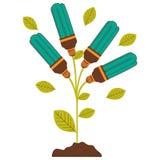 pflanzen Sie Stamm mit Blättern und Leuchtstoffbirnen mit hellem Türkis stock abbildung