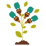 pflanzen Sie Stamm mit Blättern und Leuchtstoffbirnen winden sich mit hellem Türkis lizenzfreie abbildung