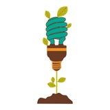pflanzen Sie Stamm mit Blättern und Leuchtstoffbirnenspirale mit hellem Türkis stock abbildung