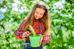 Pflanzen von Jahreszeit E Kinderentz?ckendes Kindergriffblumentopf- und -hackengartenarbeitwerkzeug Die Gartenarbeit ist ruhig stockfoto
