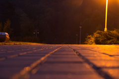 Pflasterstein im Nachtpark Stockbilder