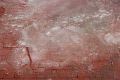 Pflasterung cobbled mit dem roten Stein, der mit dem Schmelzen des gebrochenen Eises bedeckt wurde Lizenzfreies Stockbild