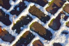 Pflasterung im Schnee Lizenzfreies Stockbild