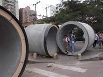 Pflasterungsbau, riesige Abwasserleitung Lizenzfreies Stockbild