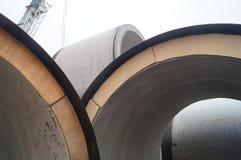 Pflasterungsbau, riesige Abwasserleitung Lizenzfreie Stockfotos