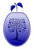 Pflaume mit Pflaumebaumdekor vektor abbildung