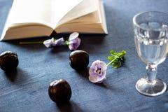 Pflaumen, Blumen, ein Buch und ein Glas Wasser auf einem blauen Hintergrund lizenzfreie stockbilder