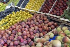 Pflaumen und Pfirsiche Stockbild