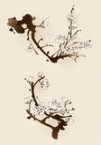 Pflaumenblüte mit Linie Design Stockbild