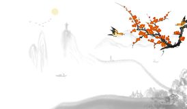 Pflaumenblütentinten-Landschaftchinesische malerei stockbild