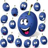 Pflaumenkarikatur mit vielen Gesichtsausdrücken Lizenzfreie Stockfotos
