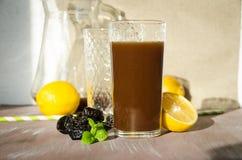 Pflaumenkompott mit Zitronentrinkglas lizenzfreie stockfotos