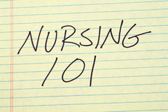 Pflege 101 auf einem gelben Kanzleibogenblock Lizenzfreies Stockbild