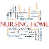 Pflegeheim-Wort-Wolken-Konzept Lizenzfreie Stockbilder
