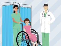 Pflegen Sie die Unterstützung eines kranken Patienten, um Doktor zu treffen Stockfotografie