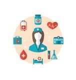 Pflegen Sie mit medizinischen Ikonen für Webdesign, moderne flache Art vektor abbildung