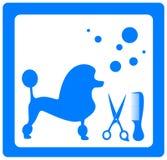 Pflegensymbol mit Pudel, Scheren und Kamm Stockfotografie
