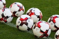 Pflichtspielbälle von Fußball-Weltmeisterschaft 2018 Lizenzfreie Stockfotos