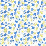 PFloral seamless pattern in retro style on white background. Floral seamless pattern in retro style, cartoon cute flowers on white background Royalty Free Stock Images