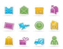 Pfosten-, Korrespondenz und Büro-Ikonen Stockfoto