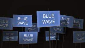 Pfosten-Zeichen-Protest-Reihe - blaue Wellen-Version stock video footage