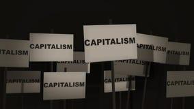 Pfosten-Zeichen-Protest-Reihe - Kapitalismus-Version stock video footage