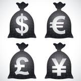 Pfund GBP-Yen JPY Geld-Taschen-Sack-Dollar USD-Euro-EUR Stockfotos