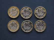1-Pfund-Münze, Vereinigtes Königreich Stockbilder