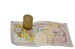 Pfund-Münzen-Anmerkung Stockbild